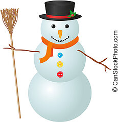Snowman - Illustration of snowman isolated on white...