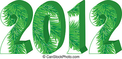 Christmas greetings card with fir tree in 2012 number, vector illustration