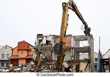 Demolition of flats using hydraulic shears