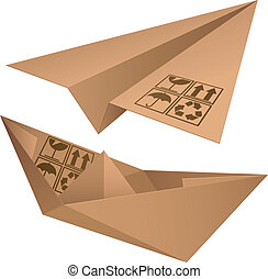 Shipping symbols. - Cardboard plane and ship.