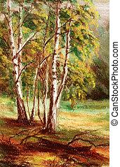 Picture, autumn forest - Picture, landscape, autumn forest...