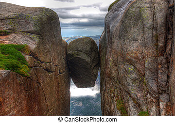 Kjerag stone - Kjeragbolten Norway the biggest stone between...