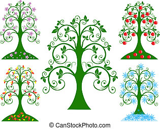 fyra, säsongbetonad, träd