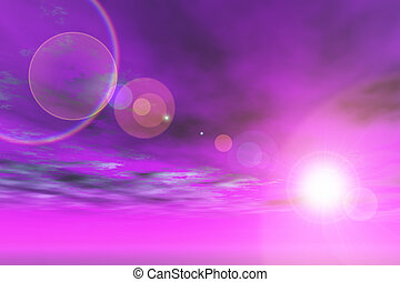 Purple sky lens flare - Purple sky with sun and lens flare