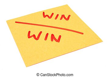 win win strategy - post it note marked win-win on isolated...