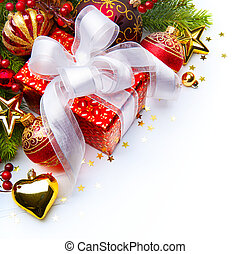 Christmas card with gift boxes and Christmas decorations on...