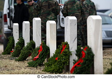 Wreaths on Soldiers Graves - Wreaths placed on soldiers...