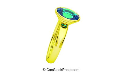 Golden ring with green diamond