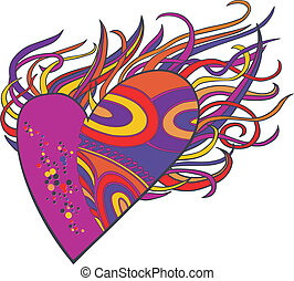 Flaming heart, a graphic element with with pop art patterns...
