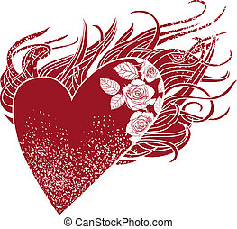 Flaming heart, a graphic element with roses and a stylized...