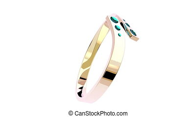Pink gold ring with six diamonds