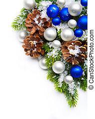 装飾, フレーム, 木, クリスマス, 雪片