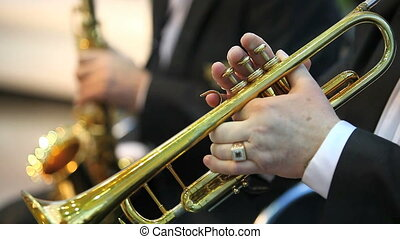 playing on trumpet