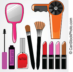 Cosmetic Items - Colorful, feminine cosmetic items.