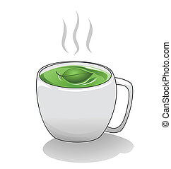Tea Cup - A hot steaming cup of green tea.