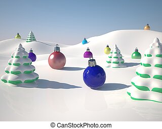Snow and ornaments - Toy winter landscape with snow and...