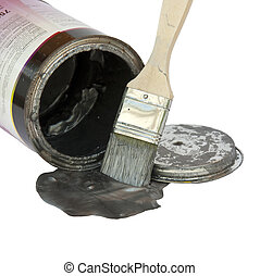 Refurbishment - Brush with paint, a color pot and a lid over...