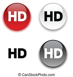 HD button. - HD glossy round vector buttons.