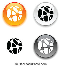 Network button. - Network glossy round vector buttons.