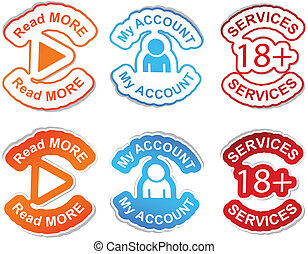 Set of color labels - Read more, my account, services vector...