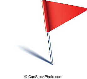 Triangle flag pin. - Vector illustration of red pin flag.