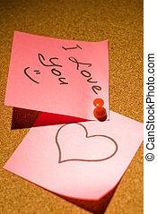 Love message on a corkboard