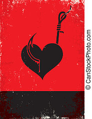 Heart on a hook - Red and black poster with Heart on a hook