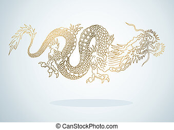 Golden Dragon - Illustration of golden dragon in the Asian...
