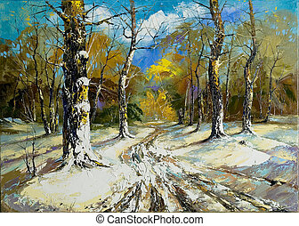 Road to a winter wood