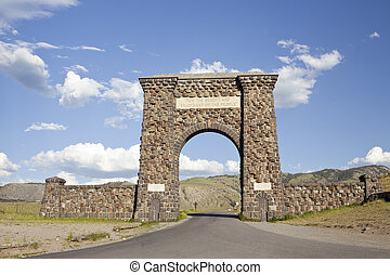 Roosevelt Arch is the north entrance to Yellowstone National...