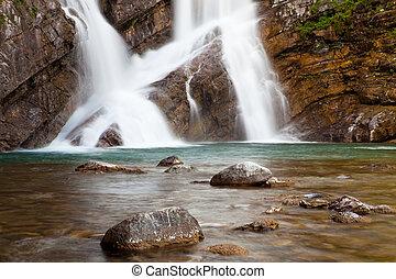 Cameron Falls in Waterton Lakes National Park, Alberta,...