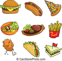 Fast food icons - A vector illustration of fast food icons