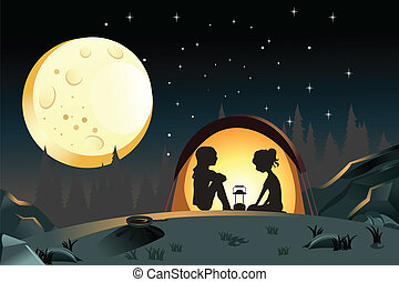 Camping - A vector illustration of two girls camping in the...