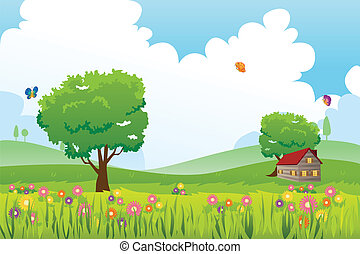 Spring season nature landscape - A vector illustration of...