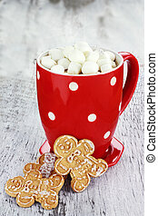 Hot Cocoa With Marshmallows - Cup of hot cocoa with...