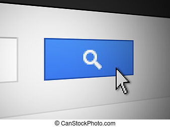 Magnifying glass button - Blue search button with white...