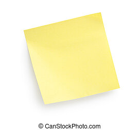 Yellow paper isolated on a white background