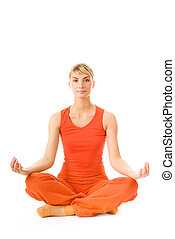 Beautiful young woman doing yoga exercise isolated on white...