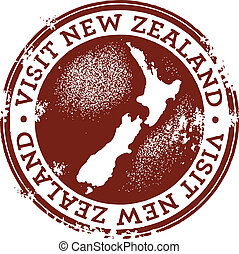 New Zealand Stamp - A vintage style stamp for New Zealand