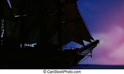 Sailing ship at night, close - Large old sailing ship...