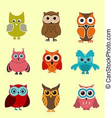 Doodle owls - Set of doodle owls for funny decoration