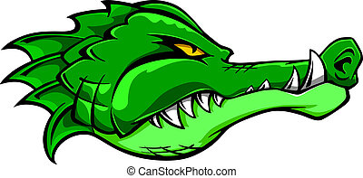 Crocodile mascot - Green alligator crocodile head for tattoo...