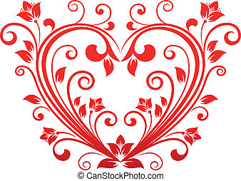 Valentine floral heart - Red valentine heart in floral style...