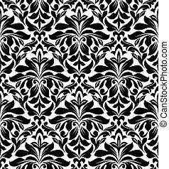 Damask seamless pattern for background design in white and...