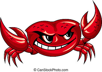 Red crab with claws for mascot design
