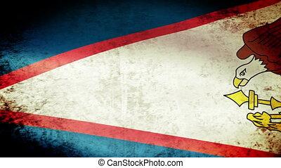 American Samoa Flag Waving, grunge