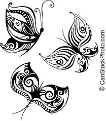 butterfly set - vector illustration of a cute butterfly set