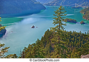 Landscape of Mountain Lake - Ross Lake, Washington State -...