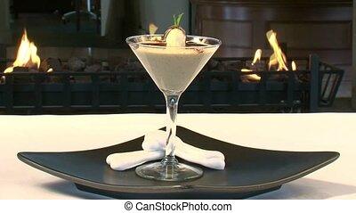 Dessert by fire - a restaurant dessert against a backdrop of...