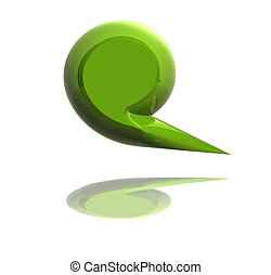 3d Green social media bubble isolated
